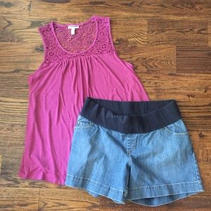Liz Lange Maternity Tank & Shorts sz L